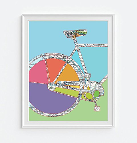 Portland Oregon Bicycle Vintage Map Art Print, UNFRAMED, Retro Antique Road Atlas, Bike Biking Cycling enthusiast - Wedding - Valentines day - Christmas - Housewarming gift, ALL SIZES