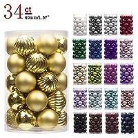 """KI Store 34ct Adornos de bolas de Navidad Decoraciones navideñas irrompibles Bolas de árboles pequeñas para la decoración de la fiesta de bodas, adornos de árboles Ganchos incluidos 1.57 """"(40mm de oro)"""