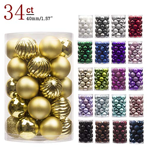 "KI Store 34ct Christmas Ball Ornaments Shatterproof Christmas Decorations Tree Balls Small for Holiday Wedding Party Decoration Tree Ornaments Hooks Included 157"" 40mm Gold"