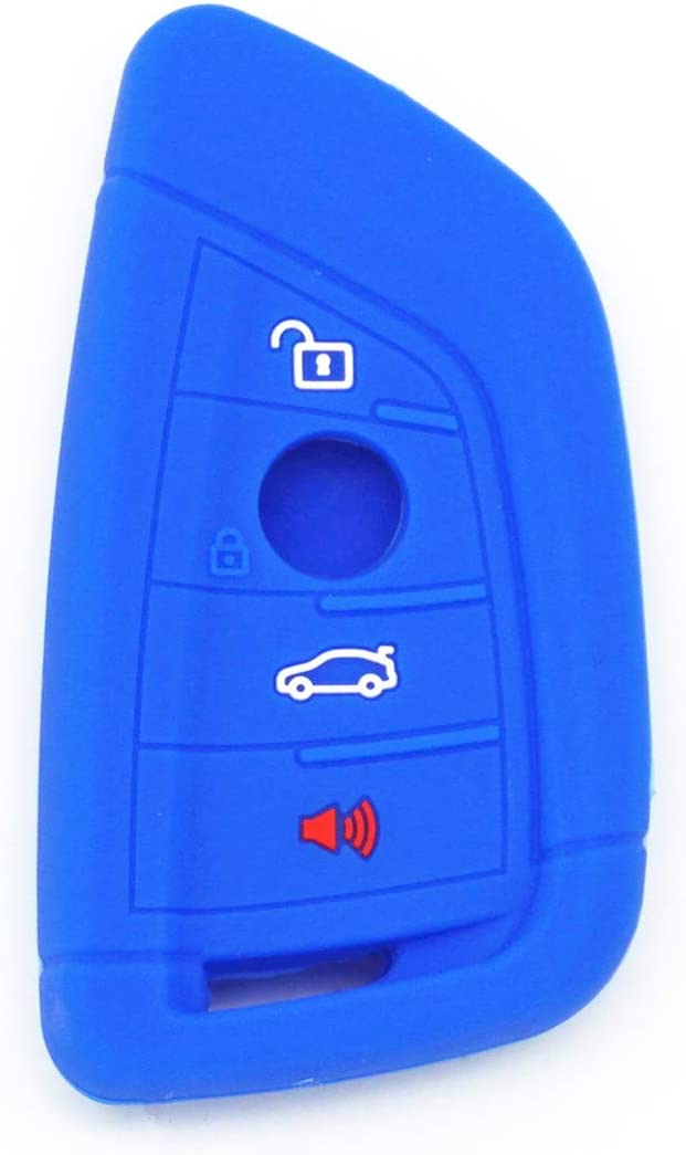 WFMJ 2Pcs Red Blue Silicone for BMW 1 2 5 7 M Series X1 X 4 X5 X 6 F15 F16 F48 4 Buttons Remote Smart Key Chain Cover Case Fob