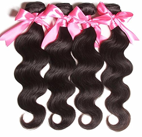 WIGABC 8A Virgin Remy Hair Brazilian Body Wave 100 Human Hair Weave Bundles Natural Color Double Weft with Closure 300-400 Grams (8 10 12 Inch)
