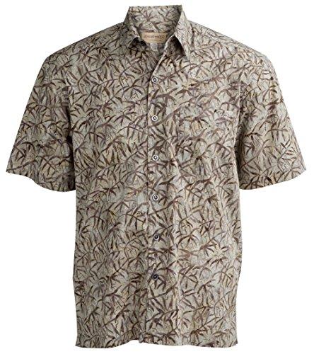 Johari West Moonlight Forest Tropical Hawaiian Batik Shirt by (2XL, Sand)