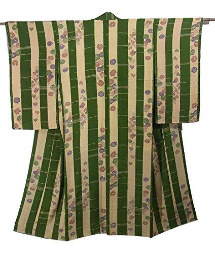 故意にホースボイコットアンティーク 着物 縞に万寿菊や蔦の葉 錦紗 正絹 裄60.5cm 身丈142cm