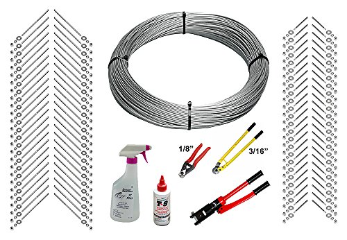 Full Deck - Cable Railing Kit - 1000 Feet Stainless Steel Cable, End Fittings, & Tools (1/8