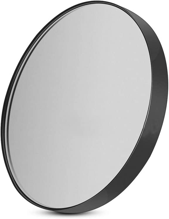quanjucheer 10X Magnifying Lighted Makeup Mirror, LED Lights Cosmetic Vanity Lighted Suction Cup Mirror White Black
