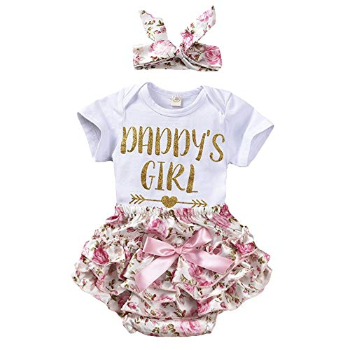 puseky 0-24M Infant Baby Girls Letters Romper+Floral Shorts+Headband Clothes Set (0-6 Months, White+Floral-Daddy's Girl)