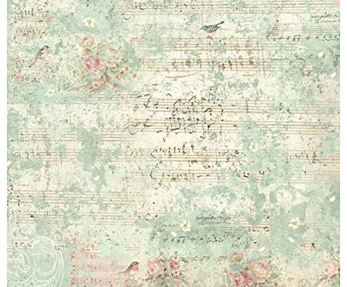 Rice Paper Sheet Music and Birds, Stamperia, 50x50cm, Decoupage Rice Papers, Hobby Colors