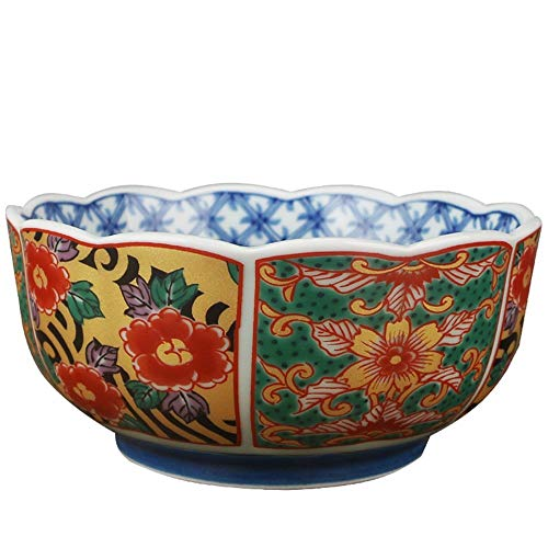 ChenDZ Soup Ramen Noodle Bowl Fruit Salad Rice Cereal Dessert Serving Bowl Retro Palace Ceramic Tableware Hand Painted Colorful Bowl Gift Souvenir Bowl 5 Inches (Color : A)