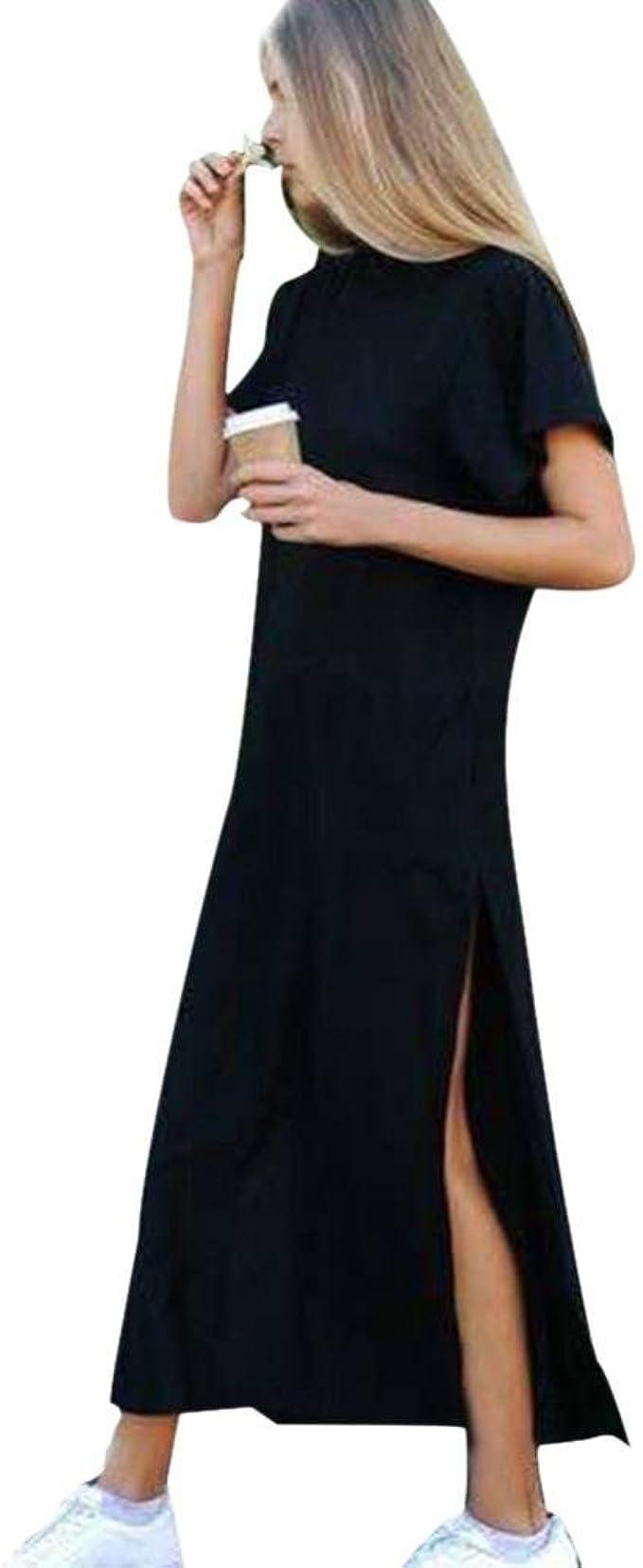 Frauen reizvolle Kurze Hülsen Rundhals Seiten hohes Schlitz Knöchellänge  schwarzes Kleid-langes Hemd Kleid