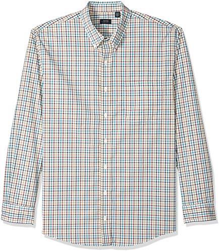 Arrow Men's Big and Tall Long Sleeve Plaid Hamilton Shirt, Bright Star White, 2X-Large Big