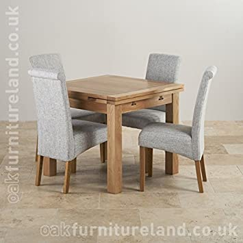 Dorset 3ft X Solid Oak Extending Dining Set 4 Light Grey Fabric Chairs Amazoncouk Kitchen Home