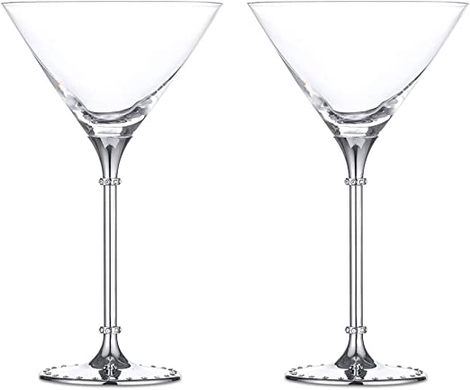 Set of 2 Martini Cocktail Party Glasses Gift Set Transparent