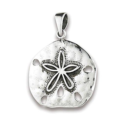(Star Sand Dollar Pendant .925 Sterling Silver Ocean Beach Open Seashell Charm - Silver Jewelry Accessories Key Chain Bracelet Necklace Pendants)