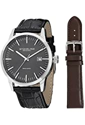 Stuhrling Original Men's 555A.02 Analog Classic Ascot II Swiss Quartz Movement Black Leather Strap Watch with Interchangeable Brown Leather Strap