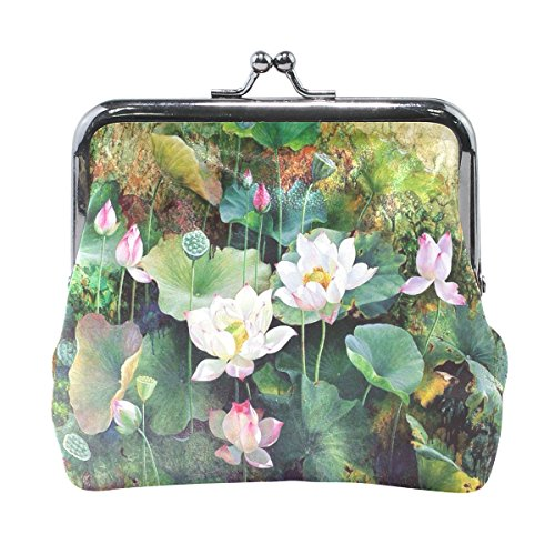 Vipsk Watercolor Colorful Lotus coin wallet Print Mom Gift Ideas PU Leather Wallet Card Holder Coin Purse Clutch Handbag (Coin Lotus)