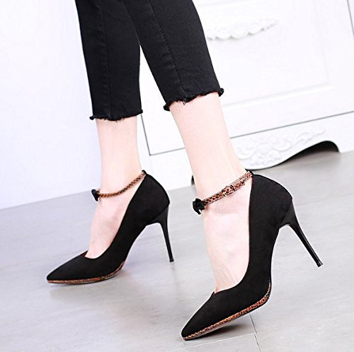 Shallow Lady Shoe Word Shoes Bow Sexy 10Cm Color Spring Leisure High Work One 36 Tie Mouth MDRW Elegant Heel Shoes Thin Heel Single Buckle Women'S Black PwgqRxdC8