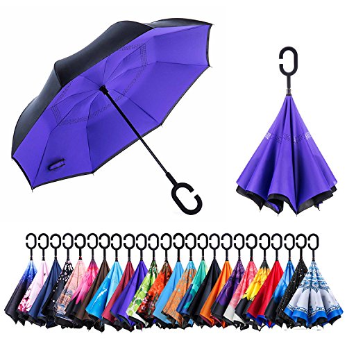 Newsight Reverse/Inverted Double-Layer Waterproof Straight Umbrella, Self-Standing & C-Shape Handle & Carrying Bag for Free Hands, Inside-Out Folding for Car Use (Purple Idea)