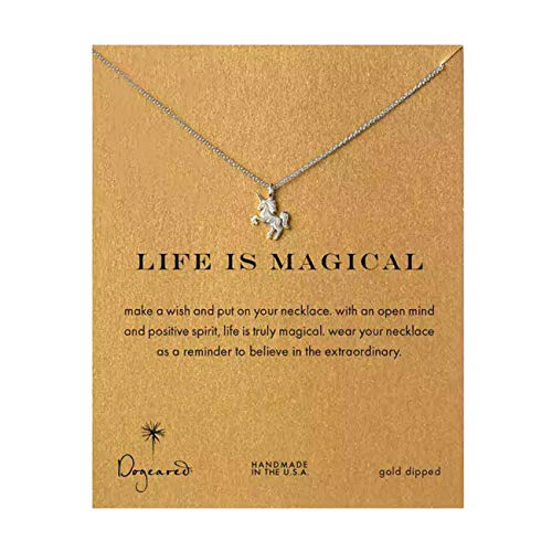 LANG XUAN Friendship Unicorn Clavicle Necklace Silver Lucky Rings Pendan Necklace with Meaning Card Women Gift