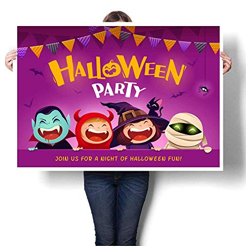 (Anyangeight Wall Decoration Halloween Party Group of Kids in Halloween Costume with Big Signboard Decorative Fine Art Canvas Print Poster K 32
