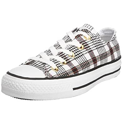 Converse Adult Chuck Taylor AS Pucker Plaid Ox Lace-Up 113987 7 UK Black / White Red