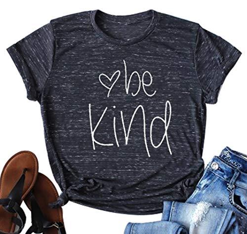 Be Kind Shirt Women Tshirt Casual Short Sleeve Summer Tops Christian T-Shirt Blouse Tee (Large, Black)