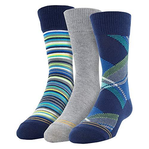- Gold Toe Boys' Big Bohemian Plaid Crew Socks, 3 Pairs, navy/green/grey heather, Shoe Size: 3-9