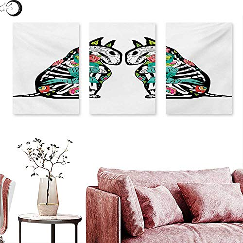Mannwarehouse Halloween Canvas Prints Wall Art Skeleton Demon Figures Flowers and Trick or Treat Quote Ethnic Holiday Design Wall Painting Multicolor W 16