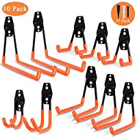 Steel Garage Storage Utility Double Hooks, Heavy Duty Ladder Wall Hooks for Organizing Power Tools, Rust Resistant Non-slip, for Ladders, Bulk items, Bikes, Ropes