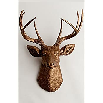 Faux Taxidermy Deer Head Wall Mount, The Bennett In Bronze Resin By White  Faux Taxidermy