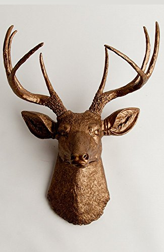 Faux Taxidermy Deer Head Wall Mount, The Bennett in Bronz...