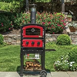 Fornetto Wood Fired Outdoor Pizza Oven On Cart - Red