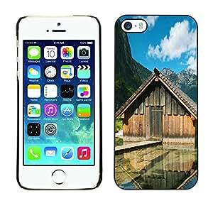 Slim Design Hard PC/Aluminum Shell Case Cover for Apple Iphone 5 / 5S Lake cabins / JUSTGO PHONE PROTECTOR