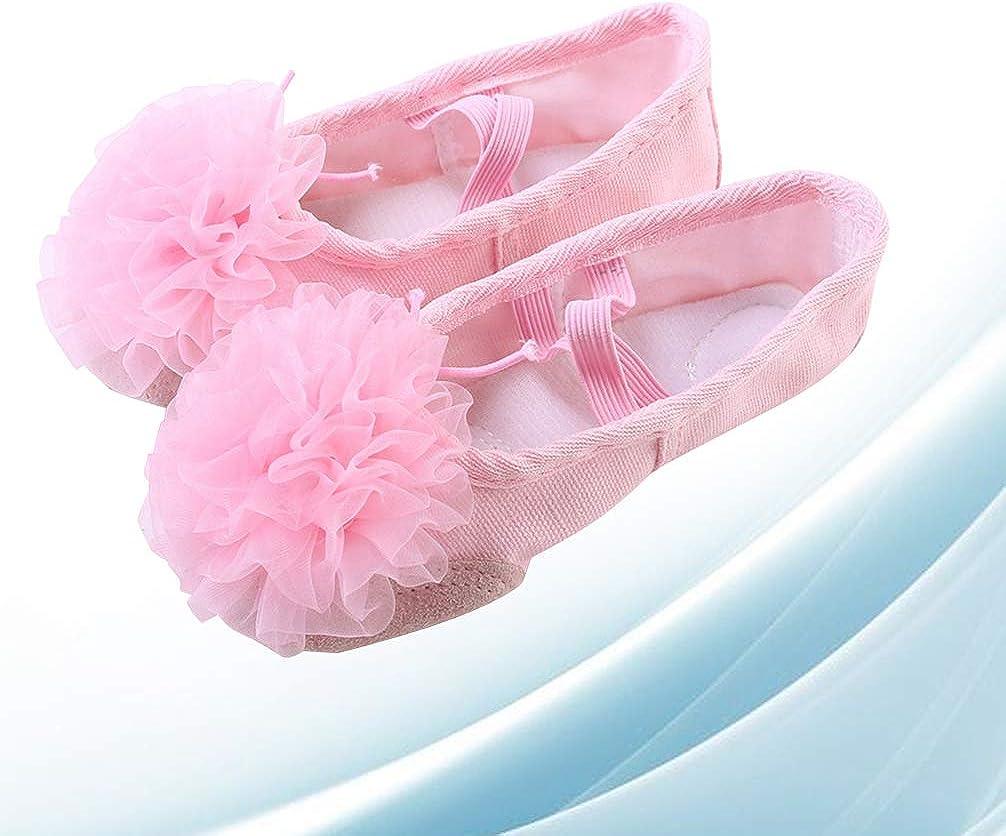 EXCEART Zapatos de Baile de Ballet con Suelas de Cuero de Gasa Zapatos de Baile para Ni/ños Talla 29 Rosa