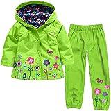 Zainafacai Kids Waterproof Suit, 2018 Lightweight Windbreaker Hooded Jacket Raincoat Hoodie+Pants (Green, 130)