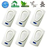 HQTech Ultrasonic Pest Repeller Repellent Plug in Indoor-2019 Electronic Ultrasonic Bug&Mosquito Repellent 6 Packs Pest Control for Roach, Spider, Rodent,Bedbugs, Fly,No Trap,Sprayer,Baits&Poison