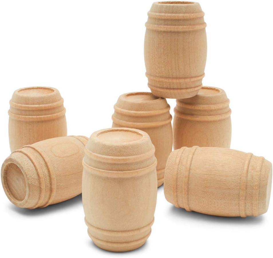 "Bag of 10 pcs Unfinished Hardwood Mini Pickle Barrel  7//8/"" Tall x 5//8/"" Dia"