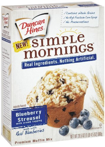 Duncan Hines Simple Mornings Whole Grain Blueberry Streusel Muffin Mix 20.5 oz (Pack of 3) -