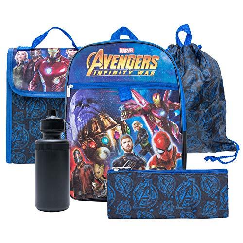 Marvel Avengers Backpack Combo Set - Marvel Avengers 5 Piece Backpack School Set (Navy/Black)