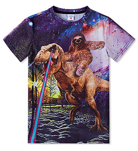 TUONROAD Boys Girls Fashionable Sports Teenager Dinosaur & Sloth Shirts Colorful Pattern Forest Sloth Rides A Dinosaur B-Day Gift Breathable Undershirt14Y 15Y 16Y(Dinosaur & Sloth,Large)