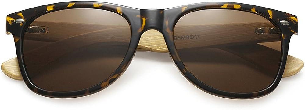 Ducomi® Master Classic Retro Style Unisex Sunglasses with Bamboo Wood Rod