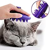 [Gentle Silicone Pins] CELEMOON Ultra-Soft Silicone Washable Cat Grooming Shedding Massage/Bath Brush for Long and Short Hair - Safe & No Scratching any more - Purple