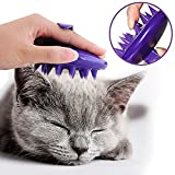 [Soft Silicone Pins] CELEMOON Ultra-Soft Silicone Washable Cat Grooming Shedding Massage / Bath Brush - Safe & No Scratching any more - Purple