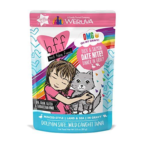 B.F.F. Omg - Best Feline Friend Oh My Gravy!, Date Nite! With Duck & Salmon In Gravy Cat Food By Weruva, 2.8Oz Pouch (Pack Of 12)