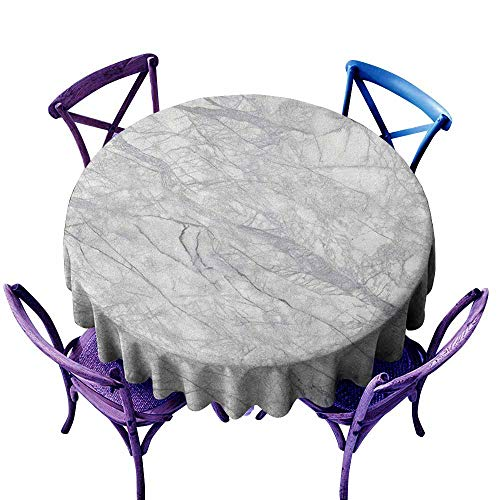ONECUTE Spillproof Tablecloth,Marble Granite Surface with Bunch of Fracture Lines and Branches Veins Artful Design,for Events Party Restaurant Dining Table Cover,35 INCH Pale Grey White
