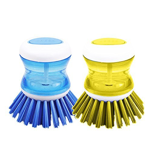 DishPanSoap   2 Pcs Soap Dispensing Dish Palm Brush with Powerful Nylon Bristles for Kitchen Sink Pot Bowl Pan, Scrubber Cleaning Gadget Tool, Dishwasher Safe, 3 x 2.5 inch, Color may vary