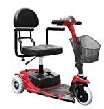 Drive Medical Falcon 3 Wheel Portable Travel Scooter with Comfortable Padded Seat and Batteries, Red
