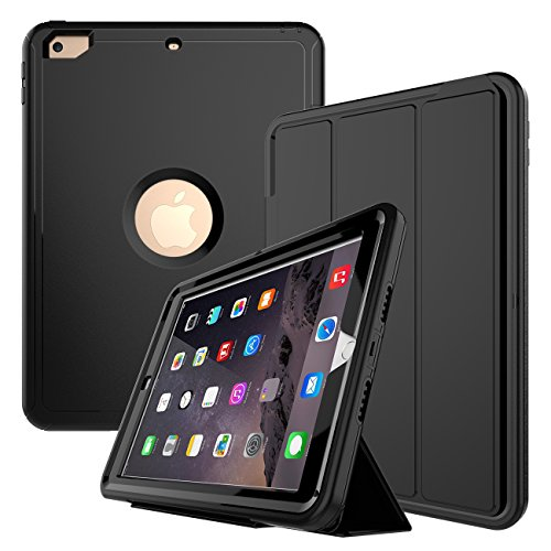 iPad Case, New iPad 2017 9.7 inch Case, Smart Case with Auto Sleep Wake Function Three Layer Drop Protection Rugged /Shock Proof Case for Apple New iPad 9.7 inch (Black)