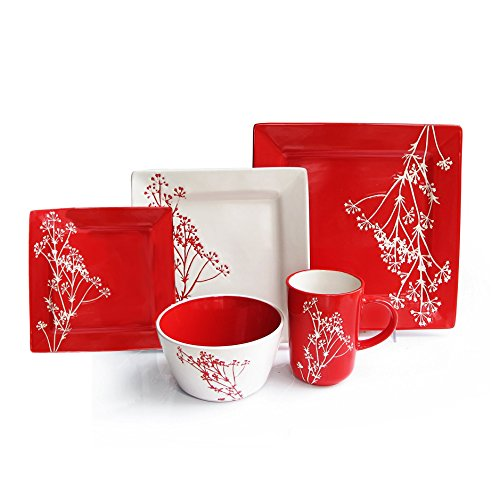 Blossom Bowl Set (American Atelier Blossom Branch 20-piece Dinnerware Set, Service For 4, Red)