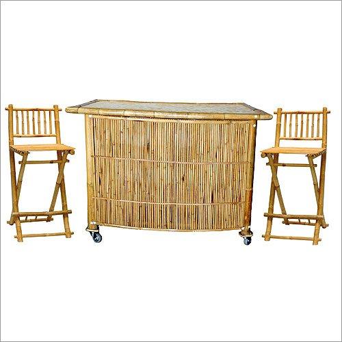 3 Piece Set with Bamboo Tiki Bar Bamboo Tiki Bar Stools