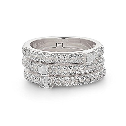 925 Sterling Silver Women's Stackable Crystal Fashion Ring, One Ring, Three bands look-like, Size 6 by Crush & Fancy